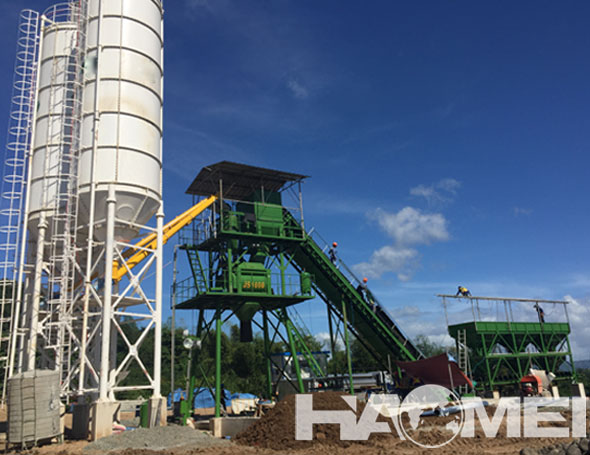 60m3/h Stationary Concrete Batching Plant in Manila