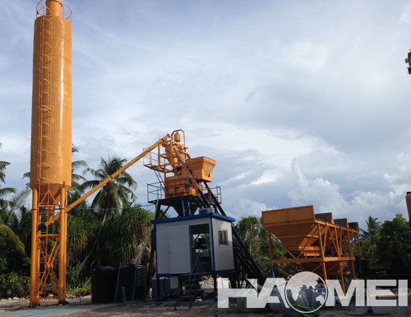 New Delivery to Male of HaoMei HZS35 Stationary Concrete Batching Plant