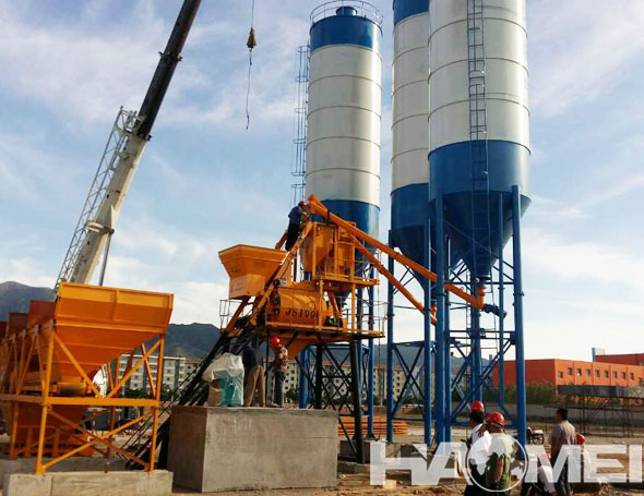 concrete batching plant with mixer